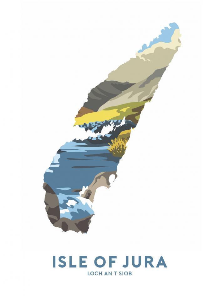 Place in Print Stephen Millership Isle of Jura - Loch an t Siob Travel Poster Art Print