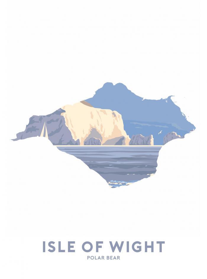 Place in Print Stephen Millership Isle of Wight - Polar Bear Travel Poster Art Print