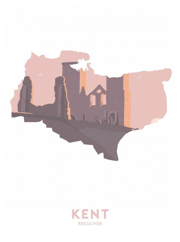 Place in Print Stephen Millership Kent - Reculver Travel Poster Art Print