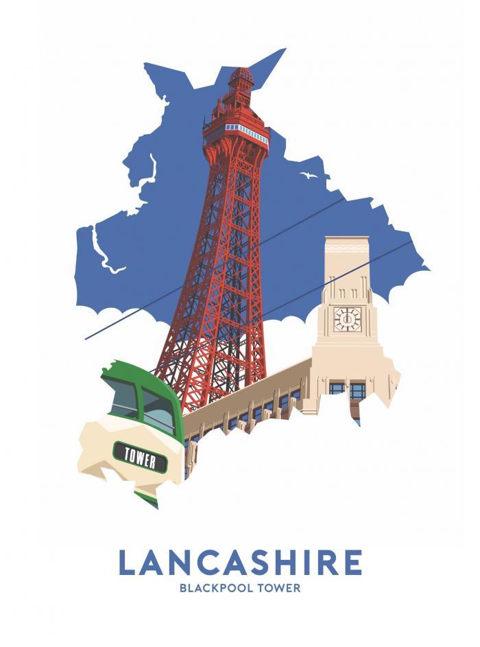 Place in Print Stephen Millership Lancashire - Blackpool Tower Travel Poster Art Print