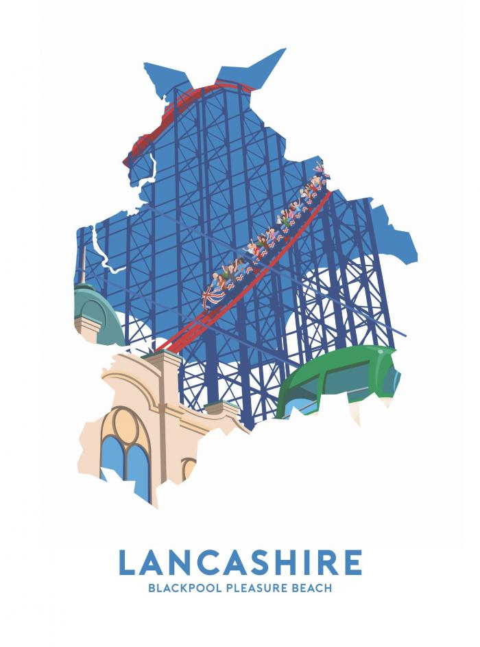 Place in Print Stephen Millership Lancashire - Blackpool Pleasure Beach Travel Poster Art Print