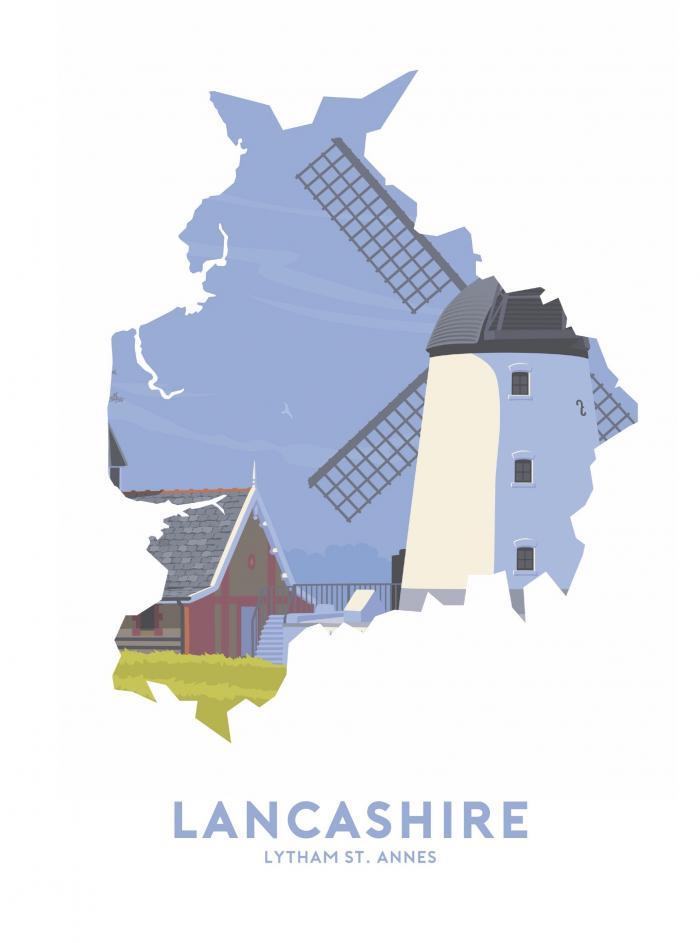 Place in Print Stephen Millership Lancashire - Lytham St. Annes Travel Poster Art Print