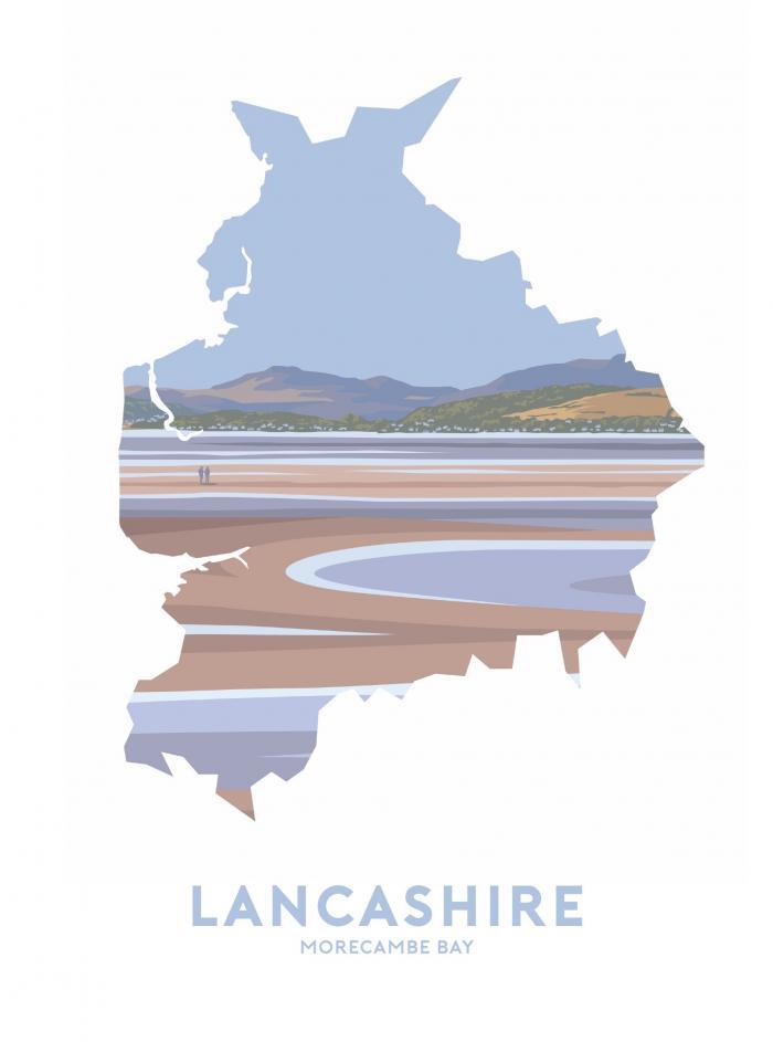 Place in Print Stephen Millership Lancashire - Morecambe Bay Travel Poster Art Print