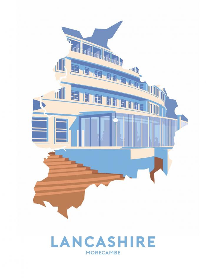 Place in Print Stephen Millership Lancashire - Morecambe Travel Poster Art Print