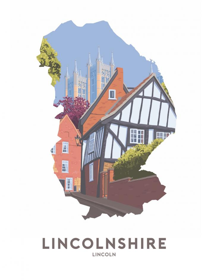 Place in Print Stephen Millership Lincolnshire - Lincoln Travel Poster Art Print