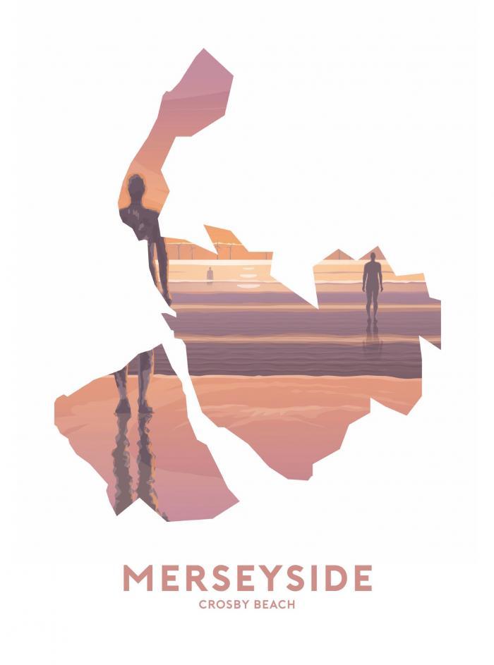 Place in Print Stephen Millership Merseyside - Crosby Beach Travel Poster Art Print