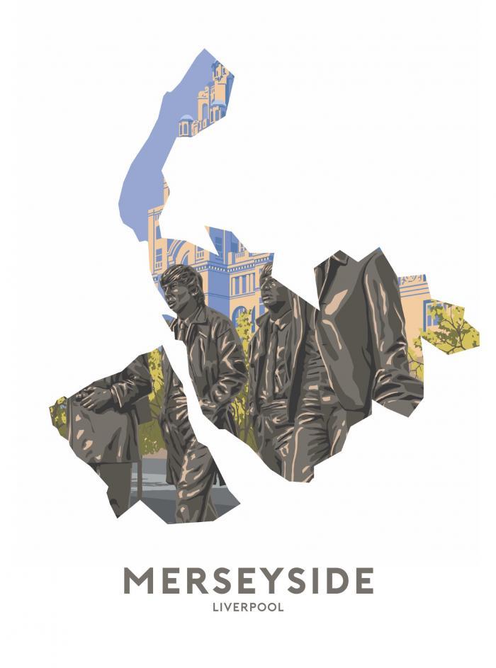 Place in Print Stephen Millership Merseyside - Liverpool Travel Poster Art Print