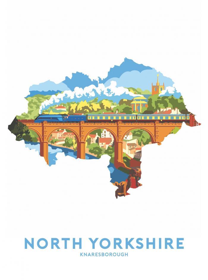 Place in Print Stephen Millership North Yorkshire - Knaresborough Travel Poster Art Print