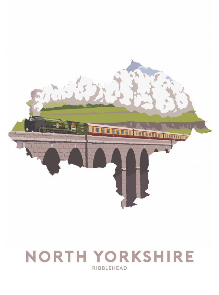 Place in Print Stephen Millership North Yorkshire - Ribblehead Travel Poster Art Print
