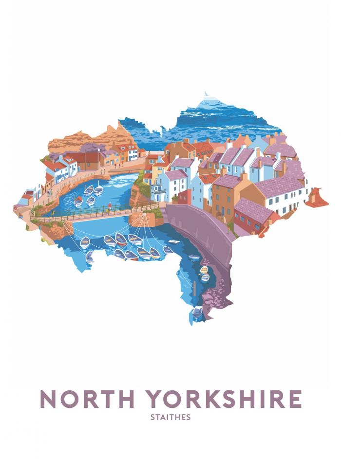Place in Print Stephen Millership North Yorkshire - Staithes Travel Poster Art Print