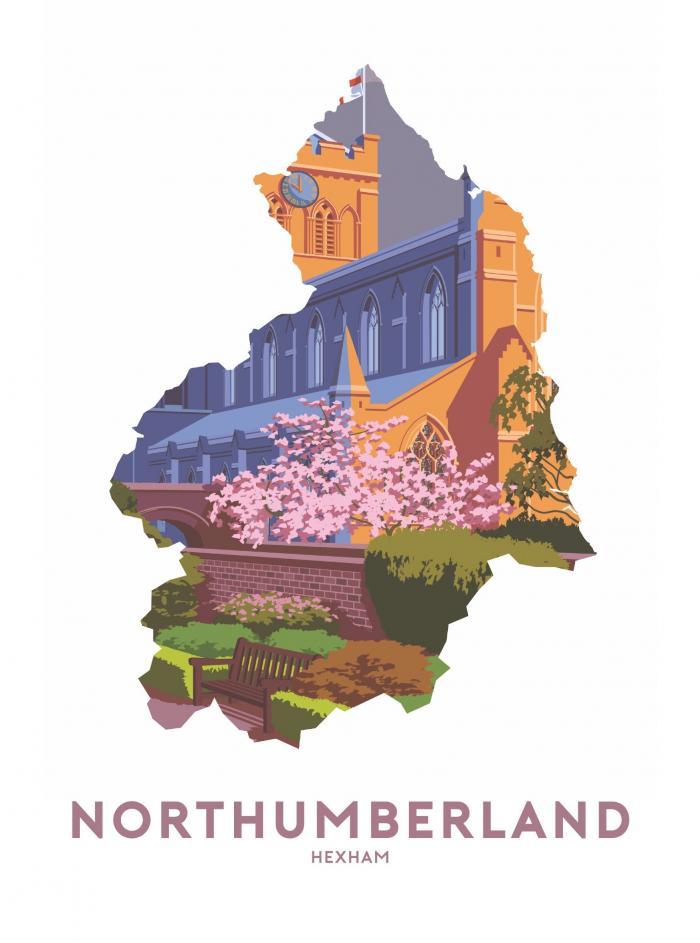 Place in Print Stephen Millership Northumberland - Hexham Travel Poster Art Print