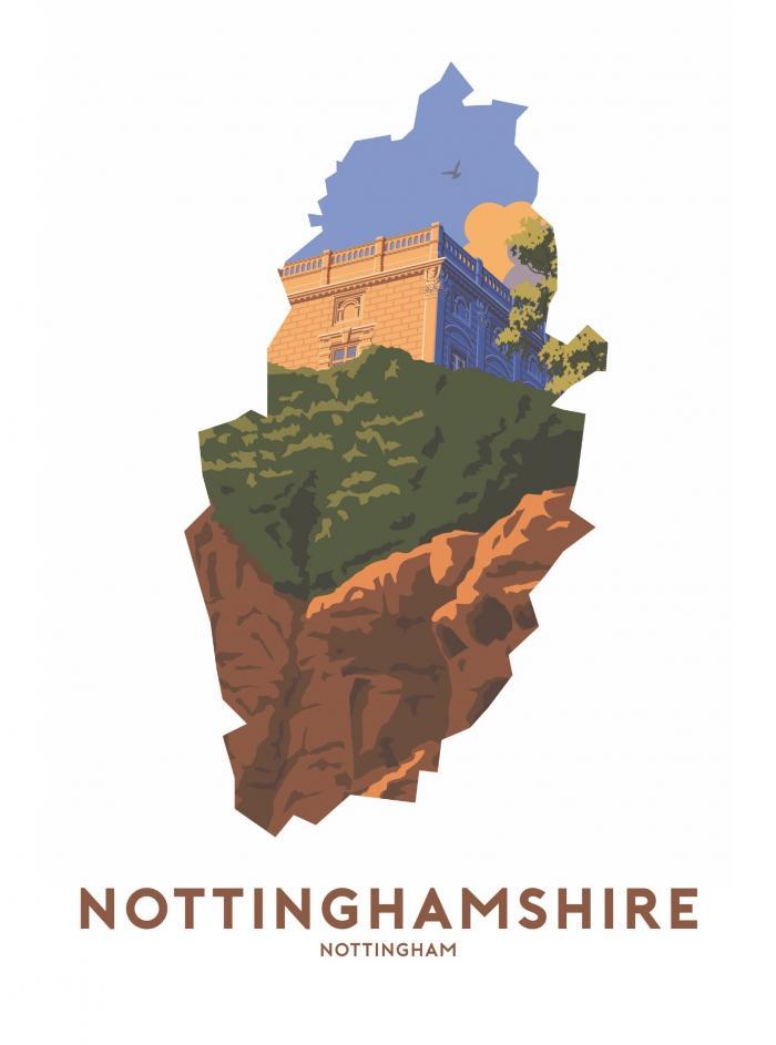 Place in Print Stephen Millership Nottinghamshire - Nottingham Travel Poster Art Print