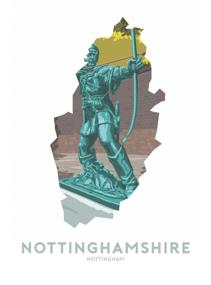 Place in Print Stephen Millership Nottinghamshire - Nottingham Robin Hood Travel Poster Art Print