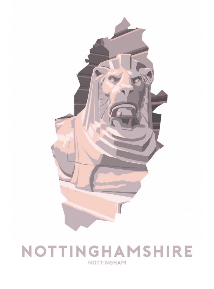 Place in Print Stephen Millership Nottinghamshire - Nottingham Lion Travel Poster Art Print