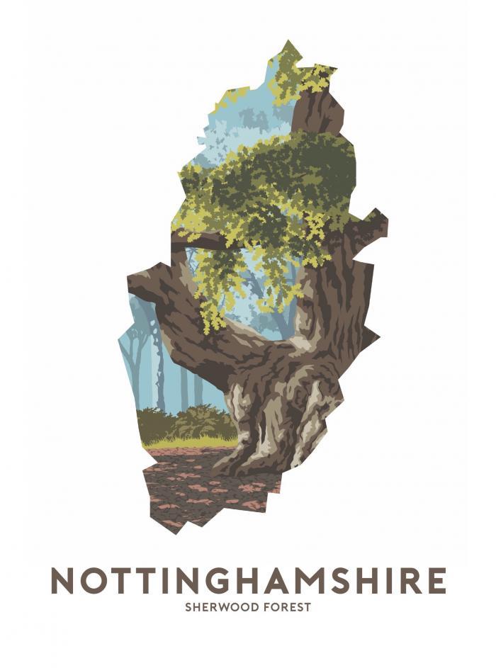 Place in Print Stephen Millership Nottinghamshire - Sherwood Forest Travel Poster Art Print