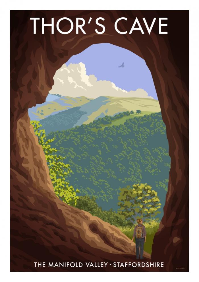 Place in Print Stephen Millership Thor's Cave Staffordshire Travel Poster Travel Poster Art Print