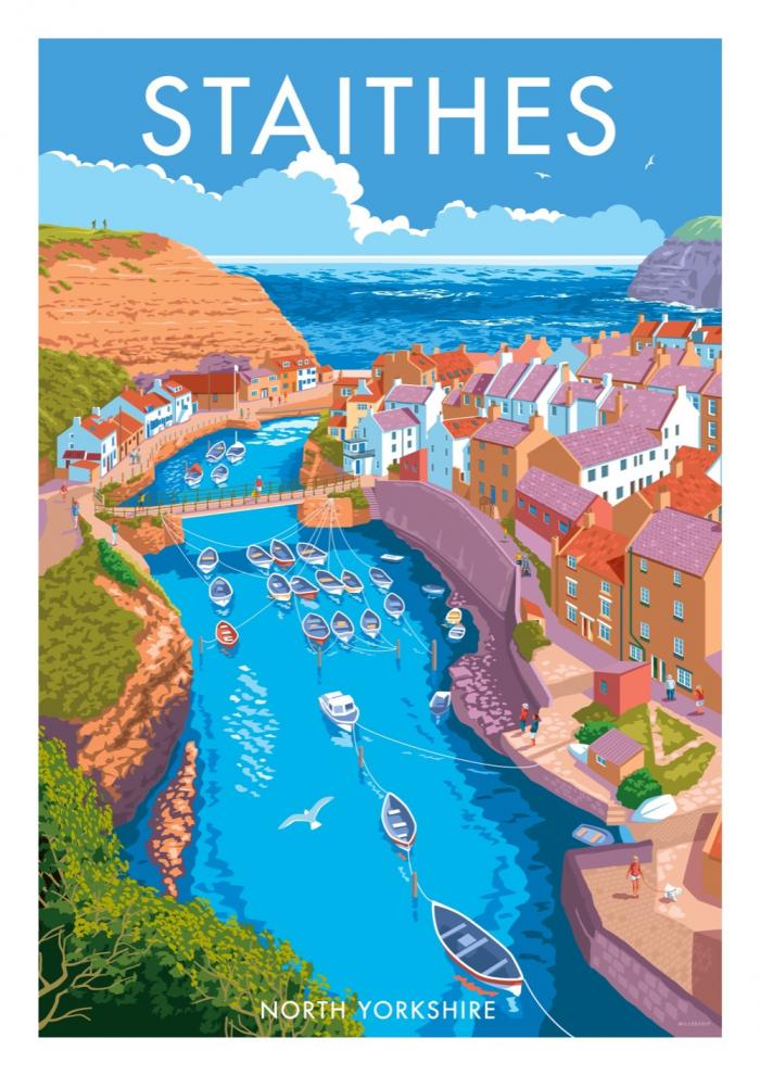 Place in Print Stephen Millership Staithes North Yorkshire Travel Poster Travel Poster Art Print