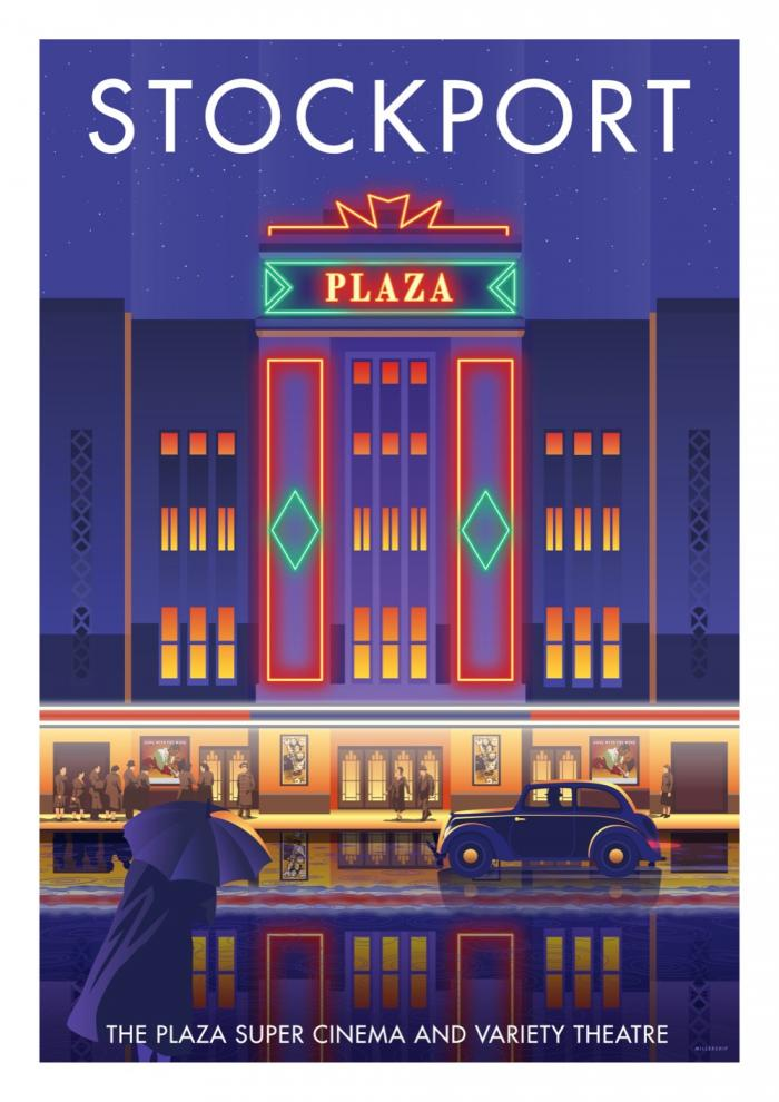 Place in Print Stephen Millership Stockport The Plaza Travel Poster Travel Poster Art Print