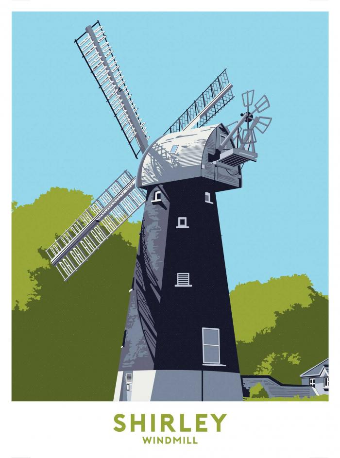 Place in Print Shirley Windmill Travel Poster Art Print