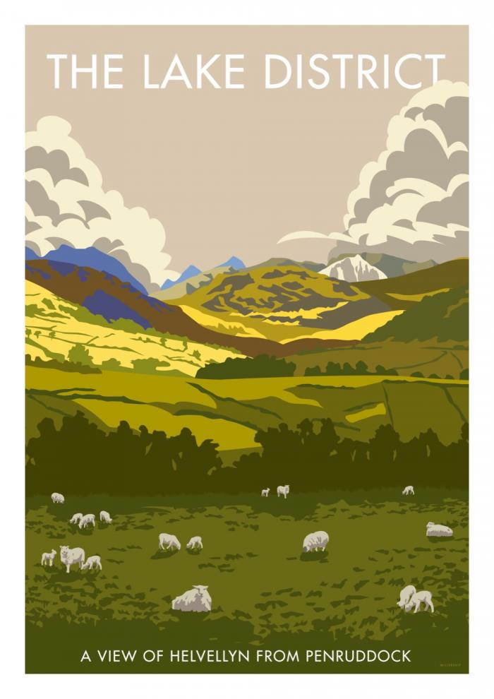 Place in Print Stephen Millership The Lake District from Penruddock Travel Poster Travel Poster Art Print
