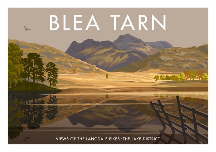 Place in Print Stephen Millership Blea Tarn Lake District Travel Poster Travel Poster Art Print