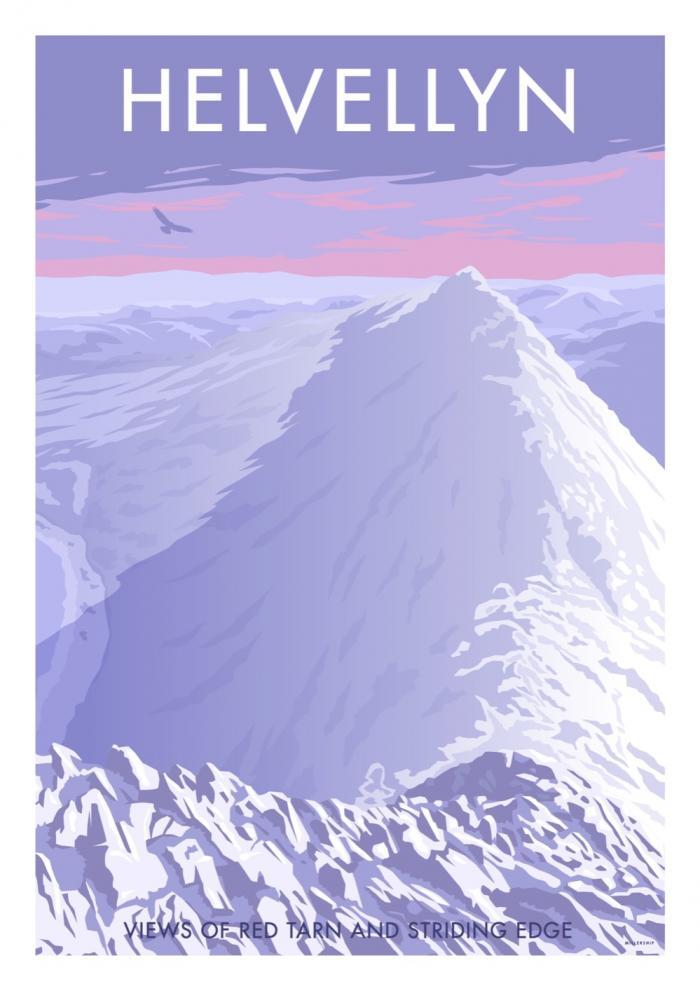 Place in Print Stephen Millership Helvellyn Winter Travel Poster Travel Poster Art Print