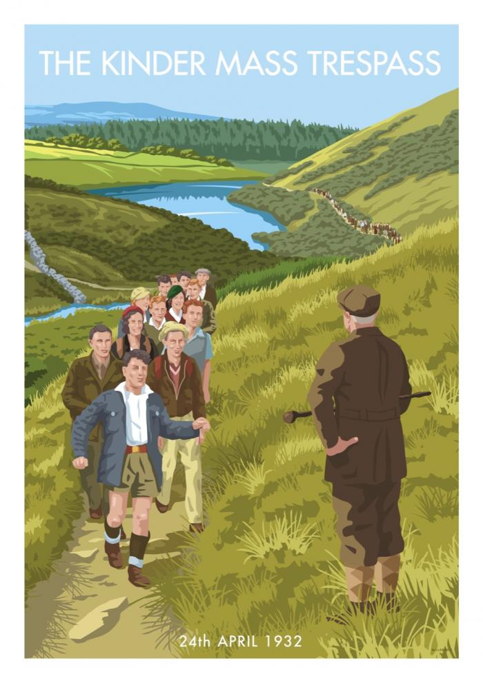 Place in Print Stephen Millership The Kinder Mass Trespass Travel Poster Travel Poster Art Print