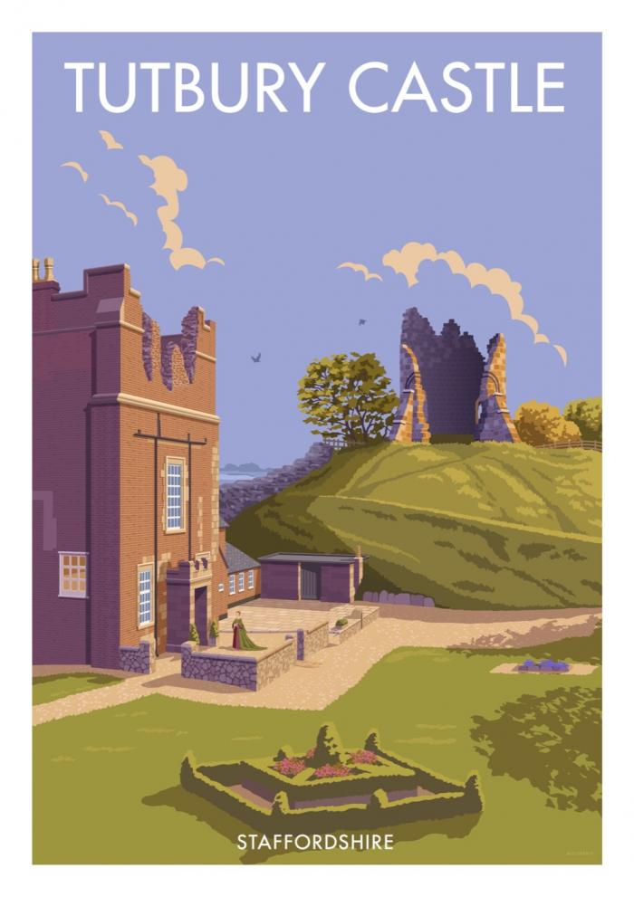 Place in Print Stephen Millership Tutbury Castle Staffordshire Travel Poster Travel Poster Art Print