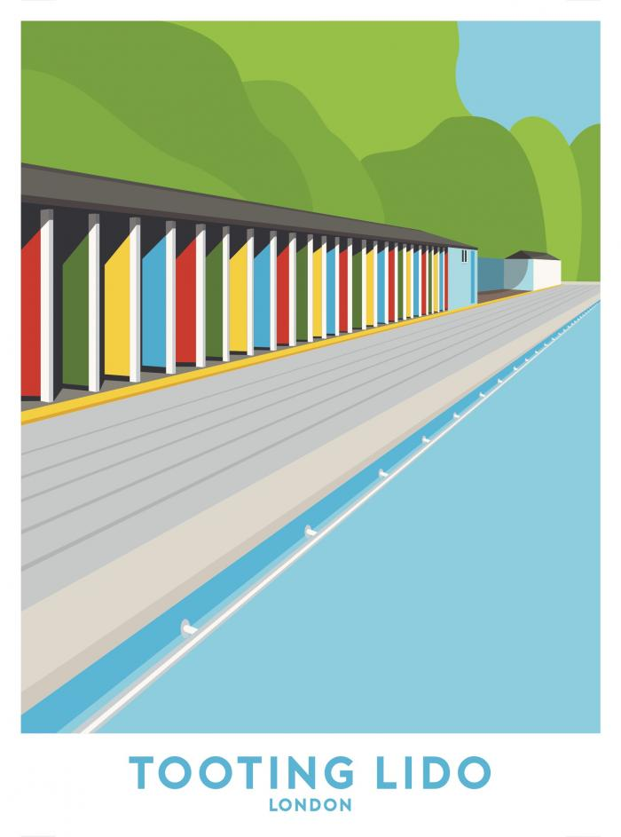 Place in Print Tooting Lido Lengths Travel Poster Art Print