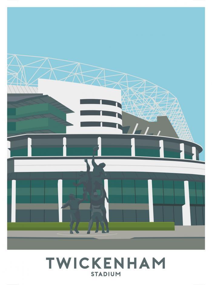 Place in Print Twickenham Stadium Travel Poster Art Print