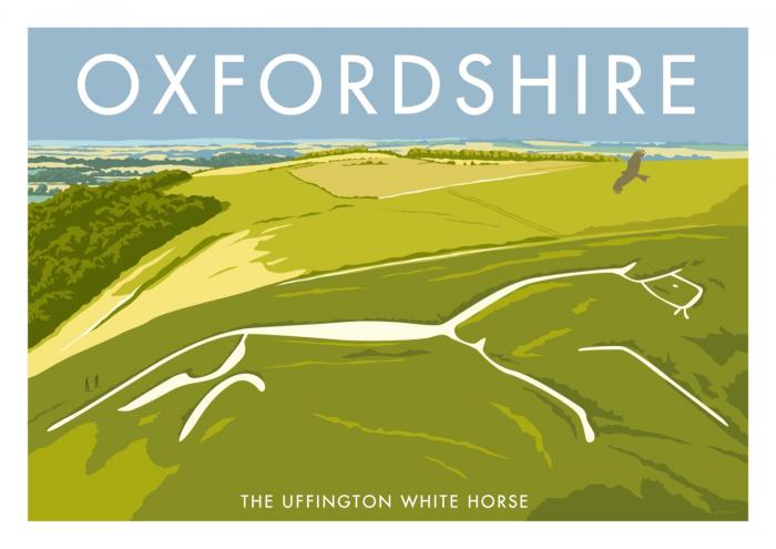 Place in Print Stephen Millership Oxfordshire Uffington White Horse Travel Poster Travel Poster Art Print