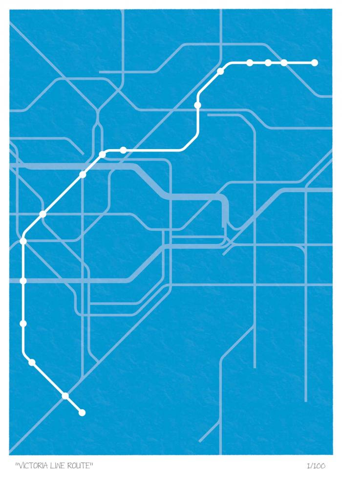 Place in Print South London Prints Victoria Line Route Map Art Poster Print