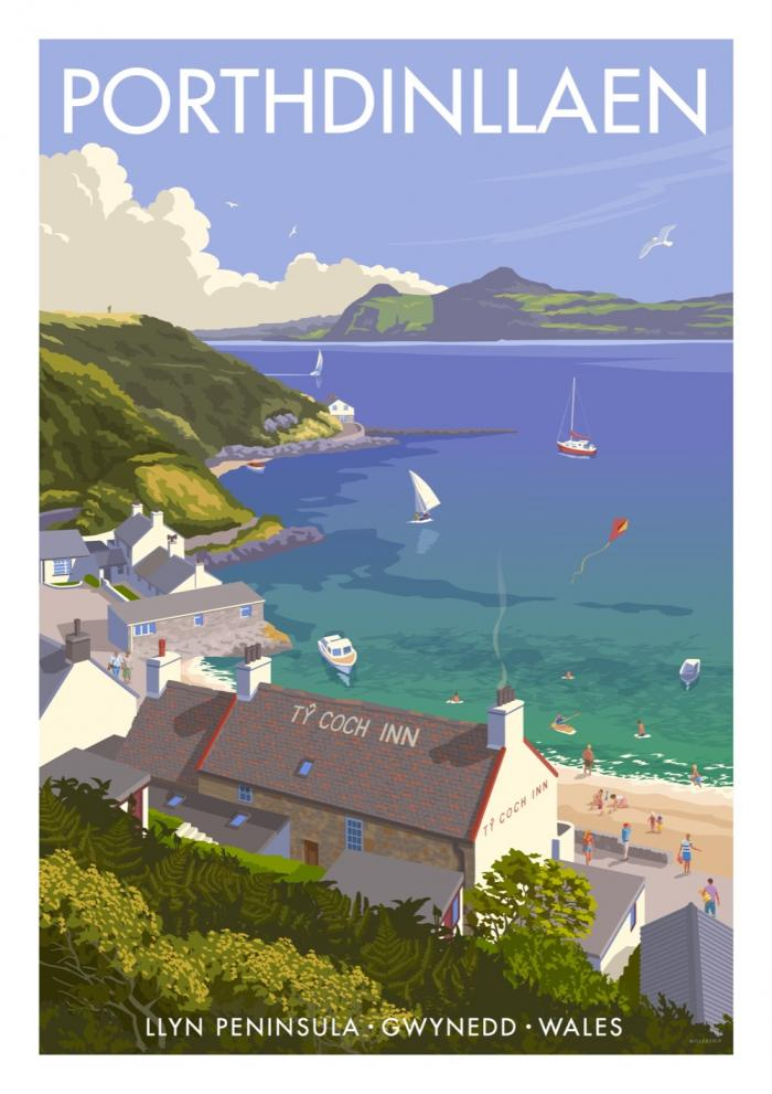 Place in Print Stephen Millership Porthdinllaen Wales Travel Poster Travel Poster Art Print
