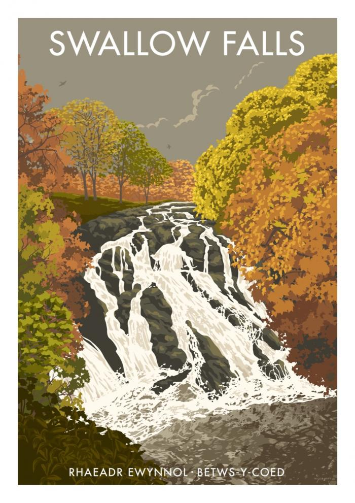 Place in Print Stephen Millership Swallow Falls Wales Travel Poster Travel Poster Art Print