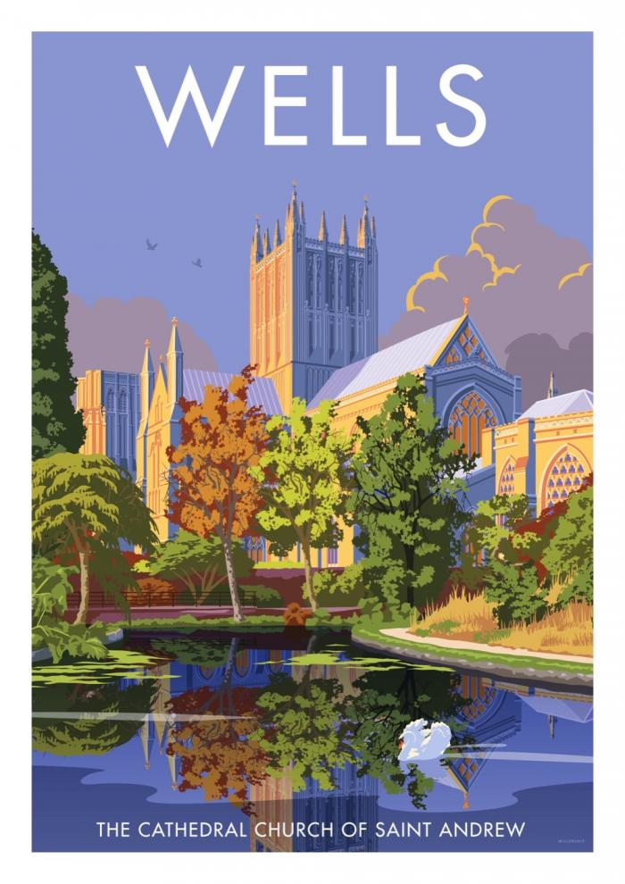 Place in Print Stephen Millership Wells Cathedral Travel Poster Travel Poster Art Print