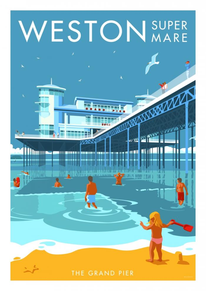 Place in Print Stephen Millership Weston super Mare Grand Pier Travel Poster Travel Poster Art Print
