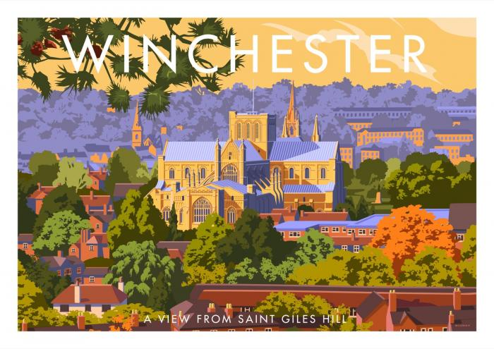 Place in Print Stephen Millership Winchester from Saint Giles Hill Travel Poster Travel Poster Art Print