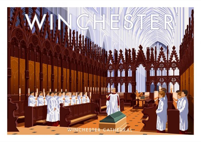 Place in Print Stephen Millership Winchester Cathedral Travel Poster Travel Poster Art Print