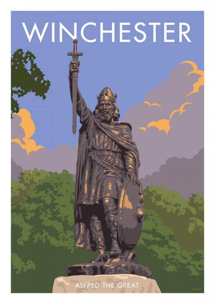 Place in Print Stephen Millership Winchester Alfred the Great Travel Poster Travel Poster Art Print