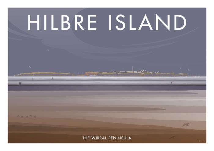 Place in Print Stephen Millership Hilbre Island The Wirral Travel Poster Travel Poster Art Print