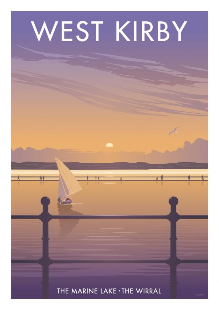 Place in Print Stephen Millership West Kirby The Marine Lake Travel Poster Travel Poster Art Print
