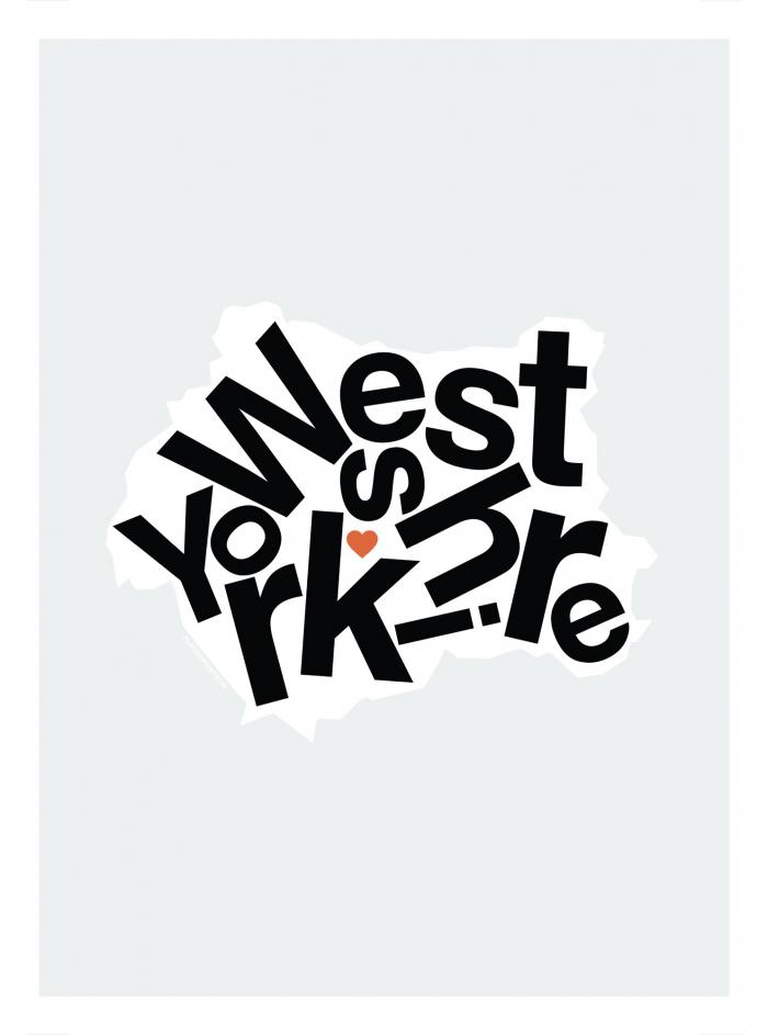 Place in Print West Yorkshire Type Map Art Print