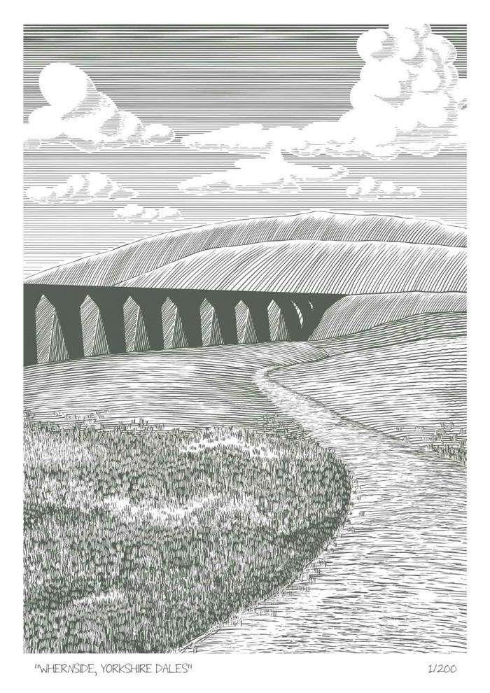 Place in Print John Morris Whernside, Yorkshire Dales Limited Edition Art Print