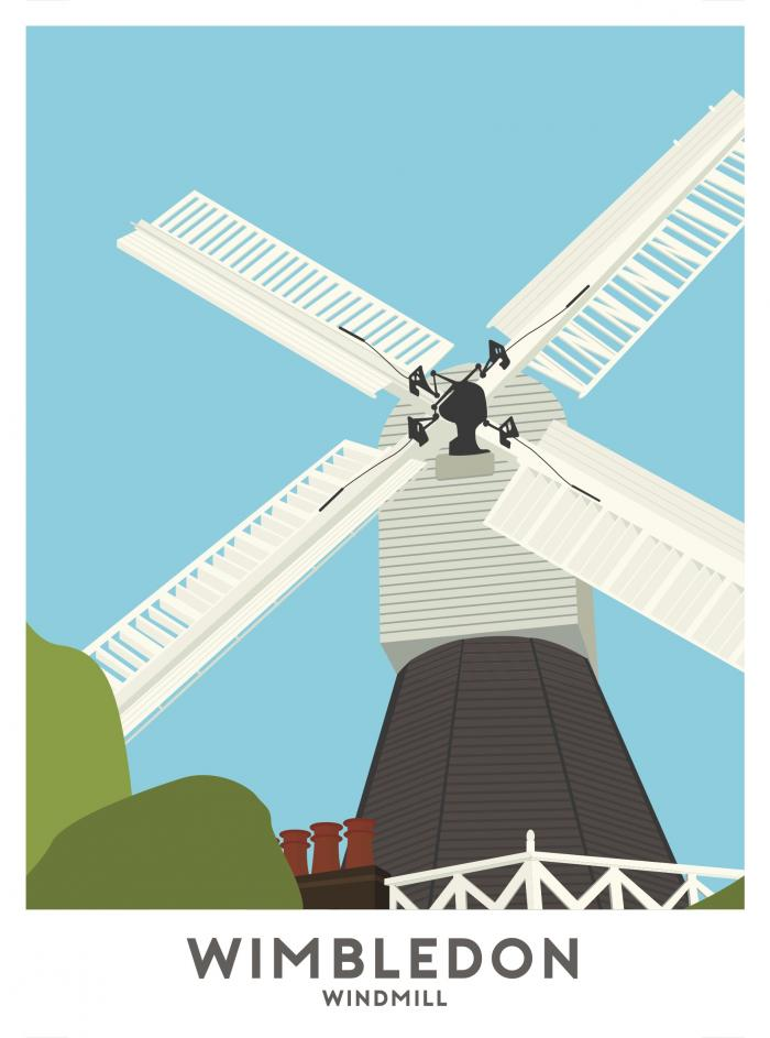 Place in Print Wimbledon Windmill Travel Poster Art Print
