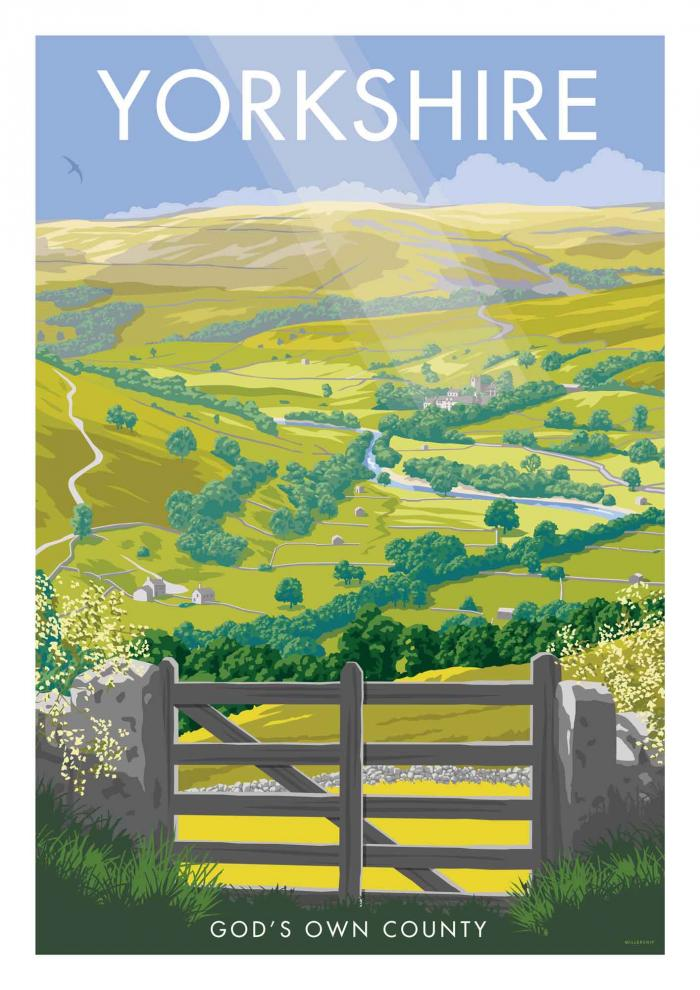 Place in Print Stephen Millership Yorkshire - God's Own County Travel Poster Art Print