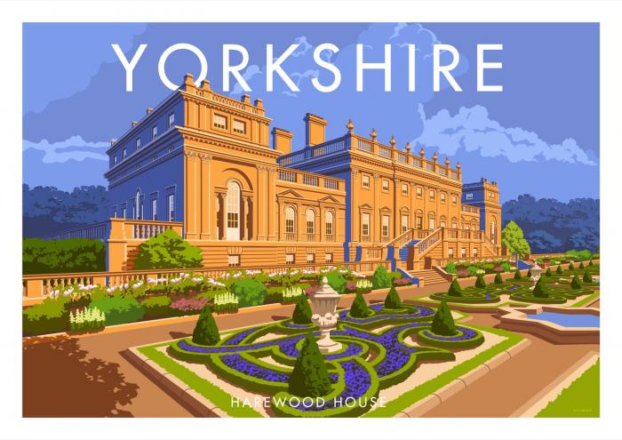 Place in Print Stephen Millership Yorkshire Harewood House Travel Poster Travel Poster Art Print