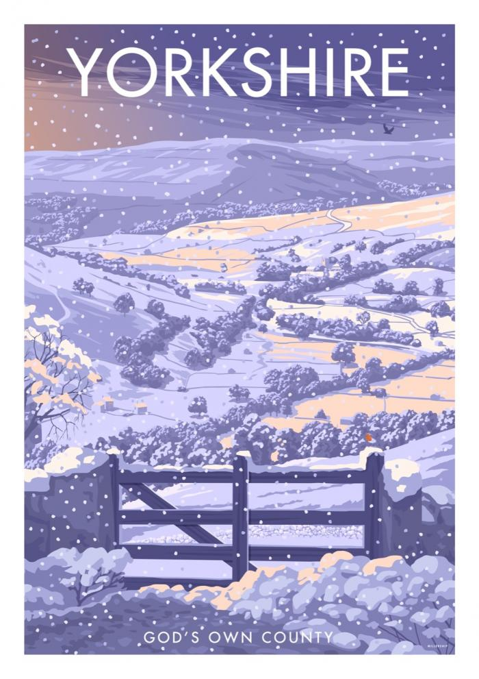 Place in Print Stephen Millership Yorkshire Winter Travel Poster Travel Poster Art Print