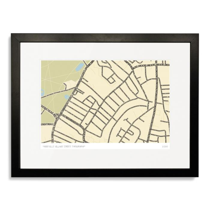 Abbeville Village Street Typography Map Art Poster Print