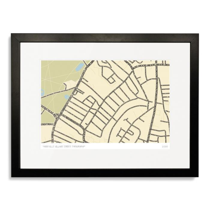 Abbeville Village Street Typography Map Art Poster Print