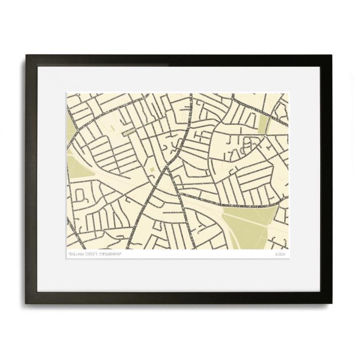 Balham Street Typography Map Art Poster Print